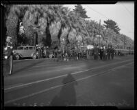 Horse-drawn funeral procession for William Traeger, Los Angeles, 1935