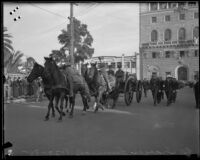 Horse-drawn funeral procession for William Traeger leaving Patriotic Hall, Los Angeles, 1935