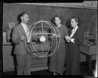 "Frank S. Trueblood, instructor at Los Angeles Junior College, explaining ""celestial sphere"" to students, Los Angeles, 1933"