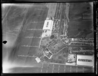 Aerial view of United Airport in Burbank during U.S. Army air maneuvers, 1930