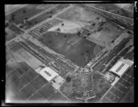 Aerial view of United Airport in Burbank during U.S. Army air maneuvers air show, 1930.