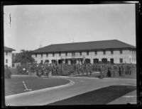 Dozens of officers from a Coast Artillery unit take part in a ceremony at Ft. MacArthur in San Pedro, 1920-1939