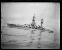 USS Oklahoma, a Navy battleship, at the Port of Los Angeles, San Pedro