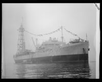 USS Patoka, a Navy fleet oiler, at the Port of Los Angeles, San Pedro, 1920-1939