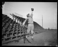 USS Tennessee sailor and baseball player Dinty Moore reaches to catch a fly ball, 1925