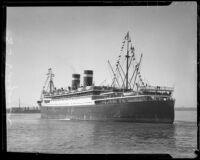 Ocean liner Virigina probably in Los Angeles Harbor, San Pedro, 1928-1938