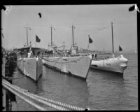 Three Navy submarines on display to the public at the Port of Los Angeles, San Pedro, 1932