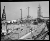 Backside view of the USS Narwhal and the USS Nautilus on display to the public, San Pedro, 1932
