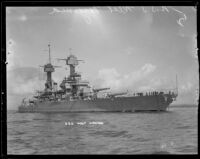 Side view of the USS West Virginia anchored in San Pedro, 1924-1939