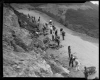 Day laborers work with shovels and wheelbarrows to widen the road through Griffith Park, Los Angeles, 1933