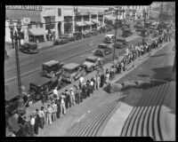 Long line of men wait to register for government-funded day-laborer work, Los Angeles, 1933