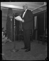 W.L. Valentine, president of J.W. Robinson, speaks at the 50th anniversary celebration, Los Angeles, 1933