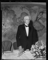 Fiancier Frank A. Vanderlip at a banquet at the Ambassador Hotel, Los Angeles, 1929