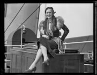 Actress Billie Van Every photographed on the S. S. Malolo, 1932