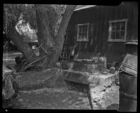 Old farm equipment next to an out building at Rancho Camulos, near Piru
