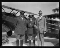 Brigadier General William E. Gillmore with two others at United Airport possibly during an Army Air Circus, Burbank, 1930