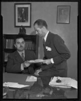 French Consul J. J. Viala, seated, with acting consul Lionel Vasse, Los Angeles, 1935