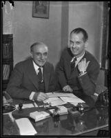 Retiring French Consul Henri Didot with interim Consul Lionel Vasse in Los Angeles, 1935