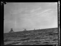Eight U.S. Navy battleships, probably the Pacific Fleet, in formation from the foreground to the horizon, California