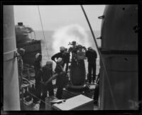 Navy sailors create a smoke screen during training maneuvers of the Pacific Fleet, San Pedro, 1920