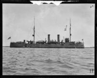 Navy cruiser the USS Baltimore possibly anchored at the Port of Los Angeles, San Pedro, 1920
