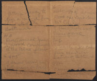 Los Angeles Times photographer George Watson's notes from an assignment aboard the USS Baltimore, 1920