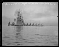USS Beaver and eight S-type Navy submarines in San Pedro, 1920-1925