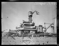 Close view of the of the USS California, flagship of the Navy's Pacific Fleet for 20 years, San Pedro