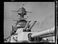 Close-up view of the guns aboard a U.S. Navy battleship