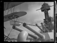 Close up view of the guns on a U.S. Navy battleship