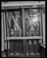 Marine uniforms from 1812 in museum displays on the USF Constitution, San Pedro, 1933