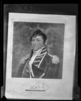 Portrait of Commodore Isaac Hull of the USF Constitution displayed aboard the ship, San Pedro, 1933