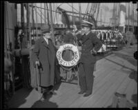Charles Nowak talks with Lieutenant J. Y. Dannenberg on board the Constitution, San Pedro, 1933