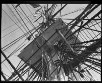 Mast and rigging of the USF Constitution, San Pedro, 1933