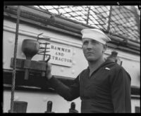 Navy sailor B. E. Blanchard aboard the USF Constitution, San Pedro, 1933