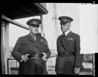 Colonel Harry Lay and Brigadier-General Dion Williams on the USS Henderson, San Diego, 1928