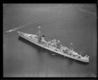 Aerial view of the USS Louisville, a Navy heavy cruiser, Southern California, 1931-1939
