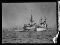 Navy's USS Salt Lake City beside the USS Medusa at Los Angeles Port, San Pedro, 1932-1939