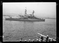Navy battleship USS Nevada at dock, San Pedro, 1930-1939