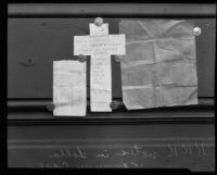 Photograph of three threatening notes received by Lalla Vennum in Los Angeles, 1926