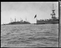 USS Chester at anchor, San Pedro Bay, 1932-1939