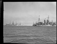 Five Navy ships docked side-by-side, San Pedro Bay