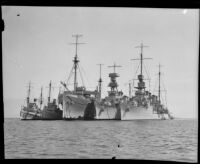 Five US Navy ships anchored side-by-side, San Pedro Bay, 1933