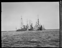 Four Naval Ships docked in San Pedro Bay, 1933