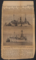 Newspaper clipping of article about Naval ship repair vessels, San Pedro Bay, 1933