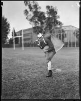 USC football player Irvine Warburton participates in an experiment, Los Angeles, 1933
