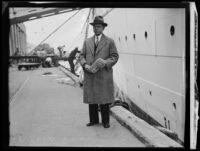 Dr. Olin Wannemaker as he arrives from China, San Pedro, 1933