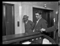 Arrest of city employee Cletus Ward on graft charges, Pasadena, 1929
