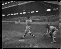 Dallas Warren, catcher for the Los Angeles Angels, warms up at Wrigley Field, Los Angeles, 1929