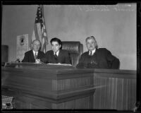 Judges William Waste, Alred E. Paonessa and Emmet Seawell gathered in Paonessa's court, Los Angeles, 1934